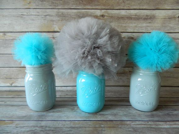 Gray & Turquoise Mason Jar w/ Tulle Pom Poms Table Decorations - Set of 3, Baby Boy Shower, Boy Birthday
