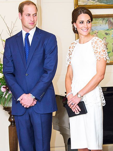 William steals a sweet glance at his gorgeous wife Kate (wearing a Lela Rose frock) during a reception at the Government House in Canberra. Australia's governor-general, Sir Peter Cosgrove, praised the royal couple, comparing their visit to that of William's great-grandfather, the Duke of York, and his wife in 1927.