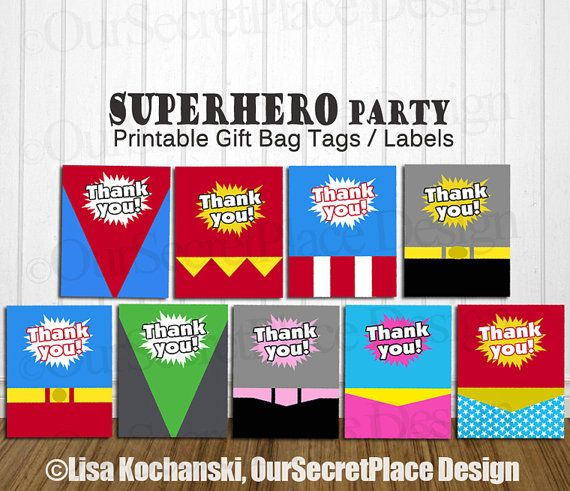Gift tag gift bag craftbnb instant download printable superhero gift bag label superhero gift negle Image collections