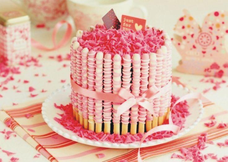 Strawberry swirl Pocky cake