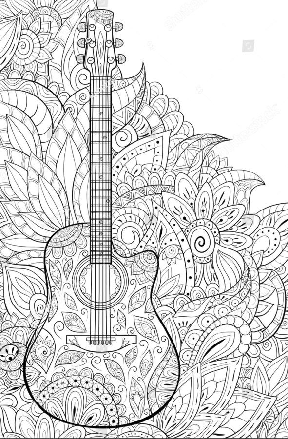 Guitar Coloring Page With A Floral Background Zen Art Style