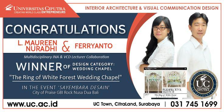 congratulation bu maureen (dosen INA) dan pak ferry chia (dosen vcd), winner of design category: wedding chapel