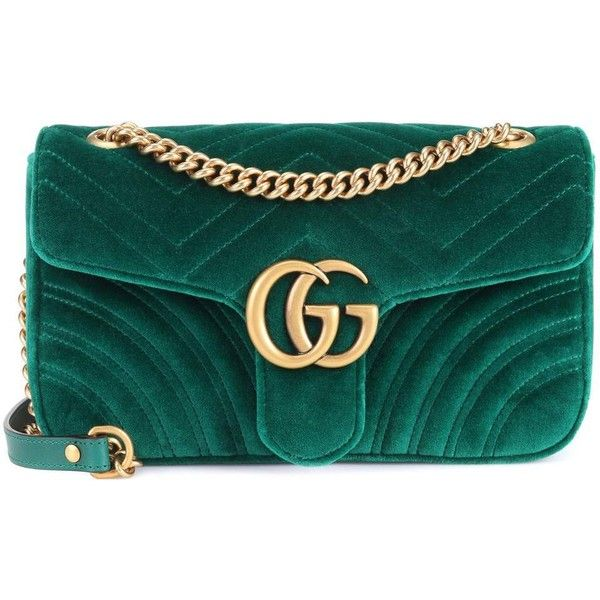Gucci GG Marmont Velvet Shoulder Bag ($1,635) ❤ liked on Polyvore featuring bags, handbags, shoulder bags, green, velvet handbag, gucci, shoulder bag purse, green purses and gucci purse