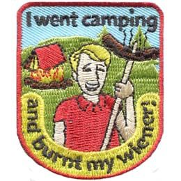 Camp, Camping, Wiener, Hot Dog, Tent, Fire, Roast, Laughter, Patch, Embroidered Patch, Merit Badge, Badge, Emblem, Iron On, Iron-On, Crest, Lapel Pin, Insignia, Girl Scouts, Boy Scouts, Girl Guides