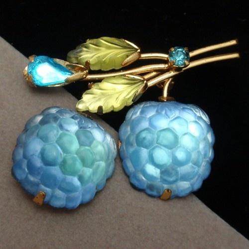 Austria Fruit Pin Vintage Blue Glass Berries Austrian Brooch | eBay