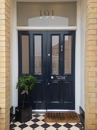 Traditional Grand Victorian double front doors with 'Canterbury' glazing and 'Etched' fanlight