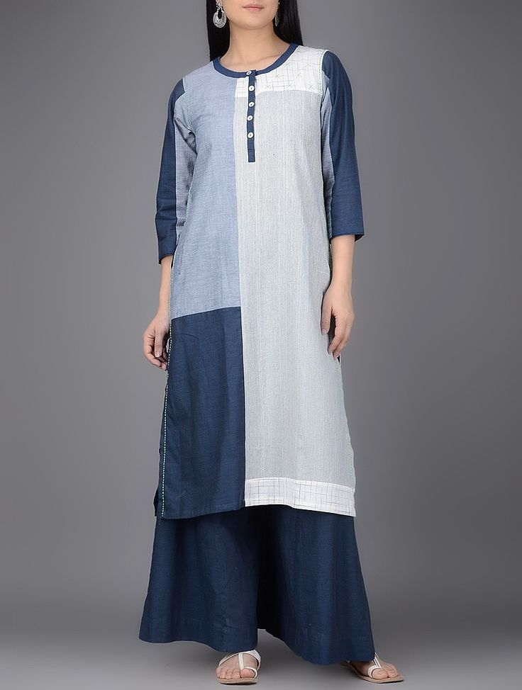 Buy Grey vy Blue Navy Round Neck Organic Cotton Kurta with Patchwork Women Kurtas Connect dresses tops palazzos scarves and more Online at Jaypore.com