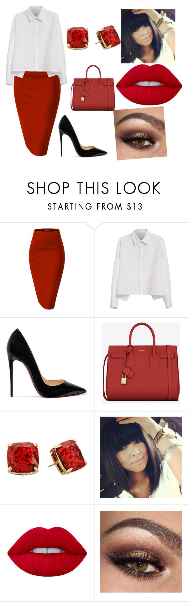 """Untitled #260"" by fashionbykh on Polyvore featuring Whit, Y's by Yohji Yamamoto, Christian Louboutin, Yves Saint Laurent, Kate Spade and Lime Crime"