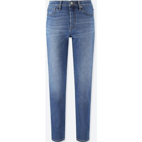 UNIQLO Women's High Rise Cigarette Jeans ($40) ❤ liked on Polyvore featuring jeans, blue, skinny jeans, super high-waisted skinny jeans, skinny straight jeans, skinny leg jeans and blue jeans