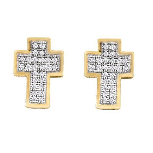 10k Yellow Gold 0.15Ctw Diamond Cross Earrings