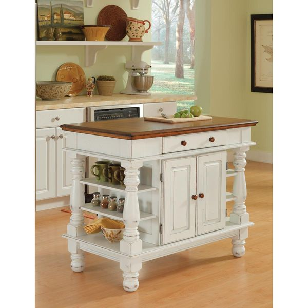 Home Styles Americana Antiqued White Kitchen Island - 14215632 - Overstock.com Shopping - Big Discounts on Home Styles Kitchen Islands