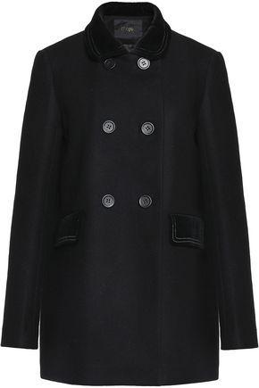 Galakie double-breasted cotton-blend velvet-trimmed wool-blend felt coat