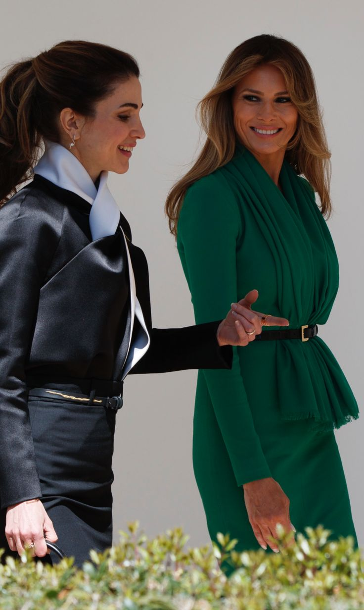 First Lady Melania Trump with Queen Rania of Jordan