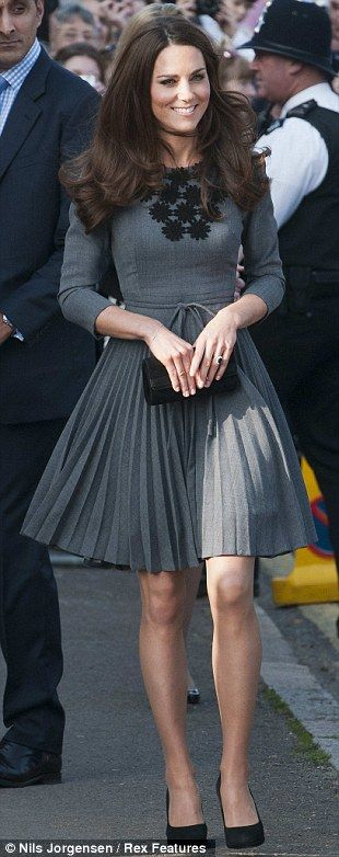 The Duchess has worn A Line styles, pleats and thigh splits and her hair