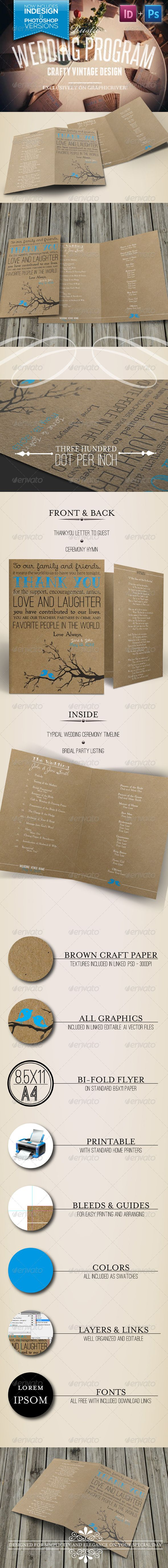 Rustic Wedding Program Template I Designed Only 5 Bucks Comes With