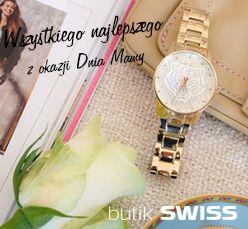 Z okazji Dnia Mamy przy zakupie damskiego zegarka otrzymasz modną bransoletkę w prezencie. Zapraszamy do Butiku Swiss Aleja Bielany !