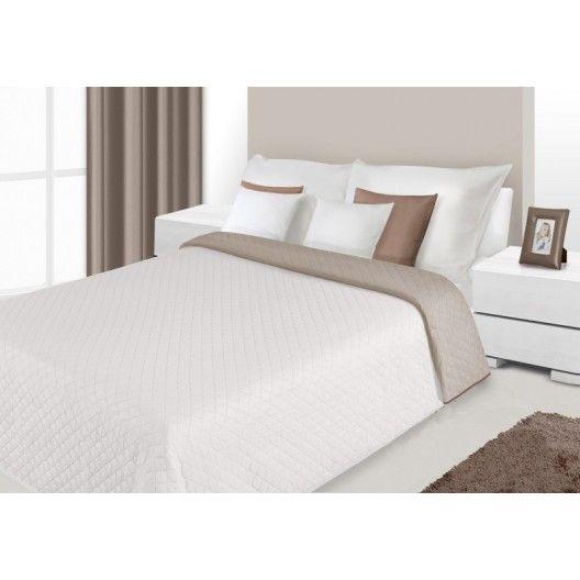 Prehoz na posteľ krémovej farby s prešívaným vzorom