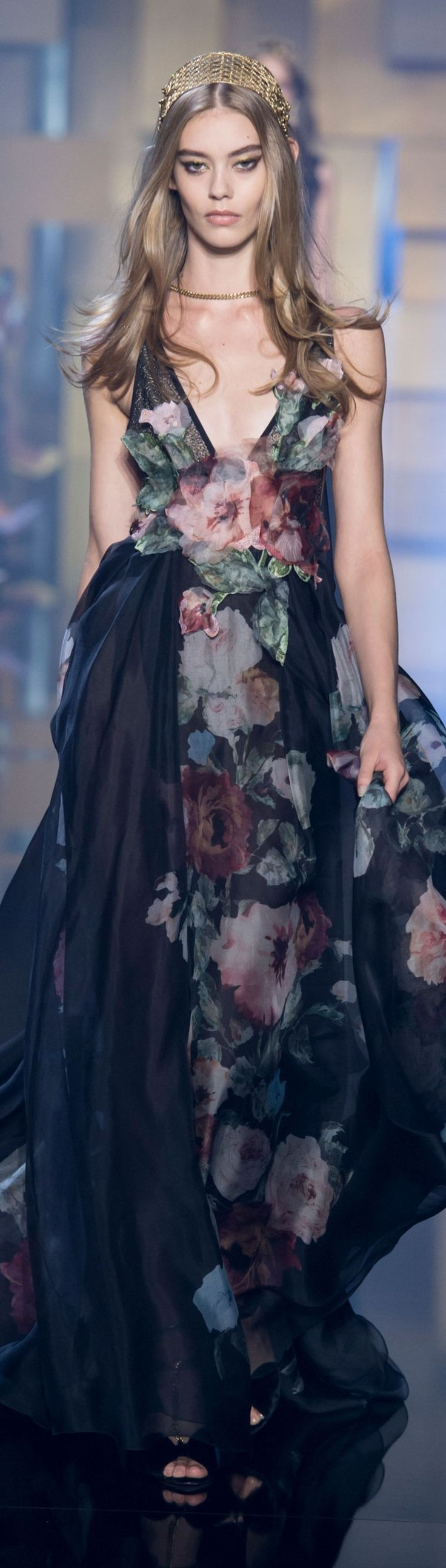 Elie Saab ~ Couture Navy and Pink Floral Gown FW 2015