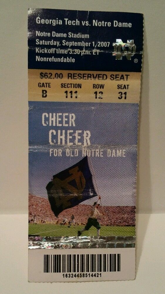 Notre Dame vs Tech 2007 Football Game Ticket Stub