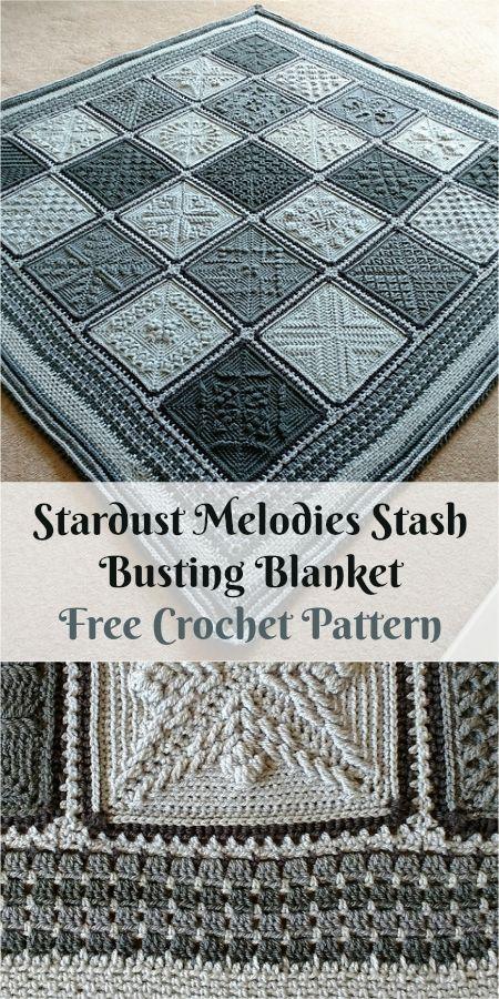 Stardust Melodies Stash Busting Blanket [Free Crochet Pattern] #crochet #freepattern #homedecorideas #crochetblankets