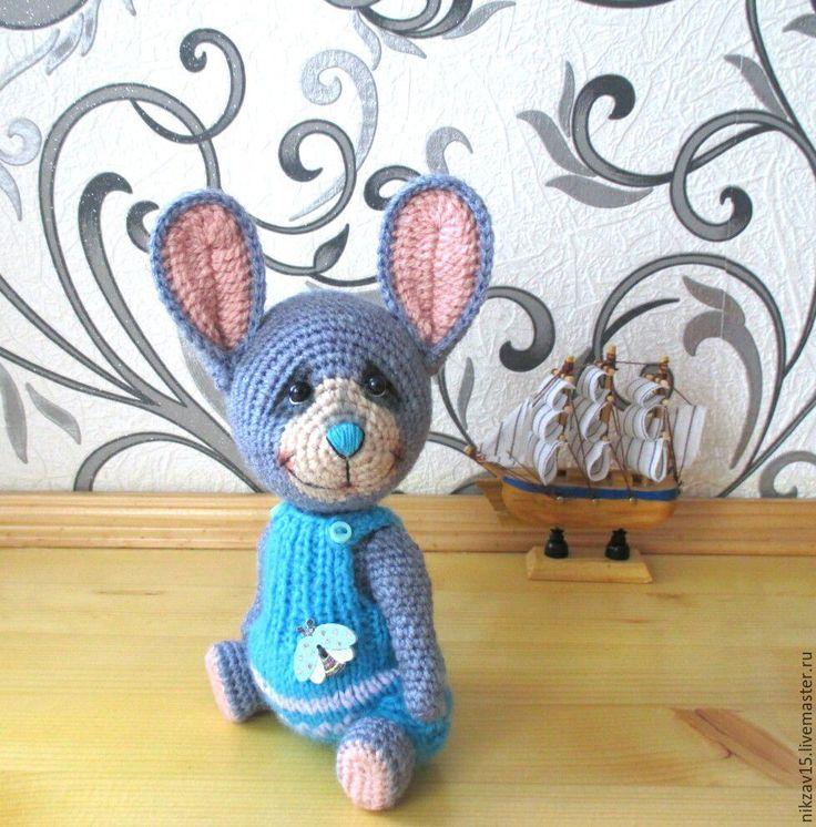 Купить Зайка Лёлик - голубой, заяц, зая, зайка, тедди, вязаная игрушка, заяц вязаный