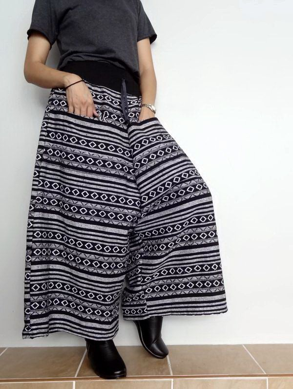 Drop Crotch Harem Pant,Unisex Trouser, Tribal Woven fabric (pants-W6). by Brightfashion on Etsy