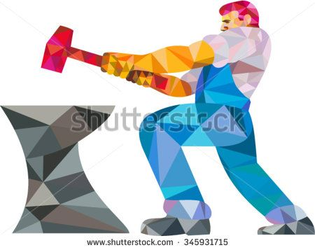 Low polygon style illustration of a blacksmith worker with sledgehammer striking at anvil viewed from side set on isolated white background - stock vector #blacksmith #lowpolygon #illustration