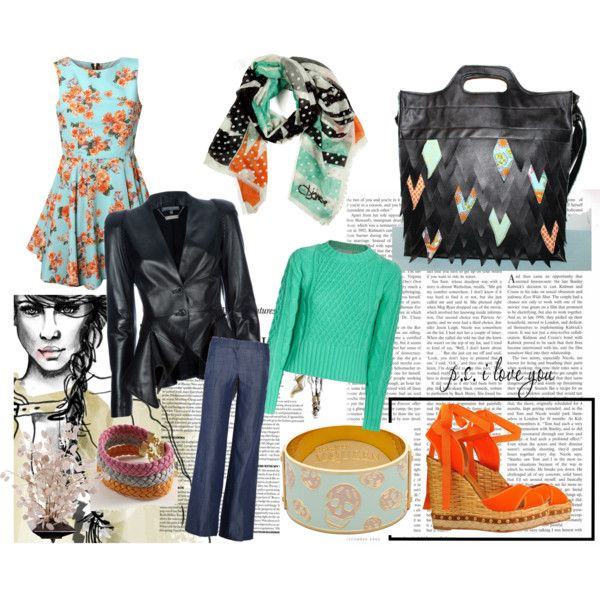 Mint and orange, created by #ellensand on #polyvore. #fashion #style #Rare #Acne