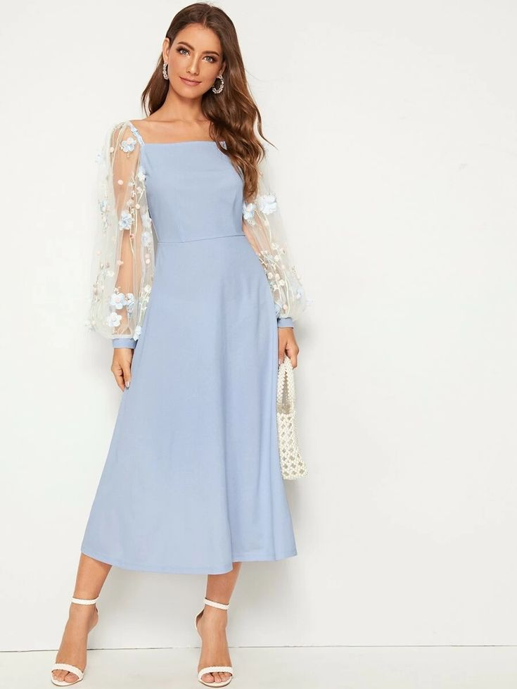 Embroidery mesh lantern sleeve flare dress for sale