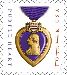 The U.S. Postal Service issued its first Purple Heart stamp in 2003. That stamp featured a photograph, taken by Ira Wexler, of a Purple Heart awarded to Lt. Col. James Loftus Fowler (USMC) in 1968 following an action on the border between North and South Vietnam. The 2012 Purple Heart Medal Forever® stamp features a photograph also taken by Wexler of the decoration awarded during World War II to 1st Lt. Arthur J. Rubin (1917–1978).