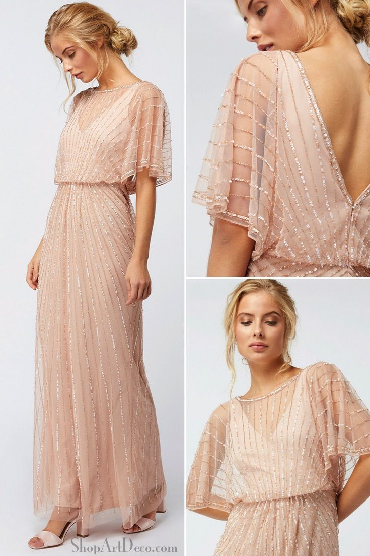 1930s Beaded Angel Sleeve Gown Vintage Evening Gown 1930s Style Bridesmaid Dre Vintage Formal Dresses Vintage Evening Gowns Bridesmaid Dresses With Sleeves [ 1102 x 735 Pixel ]