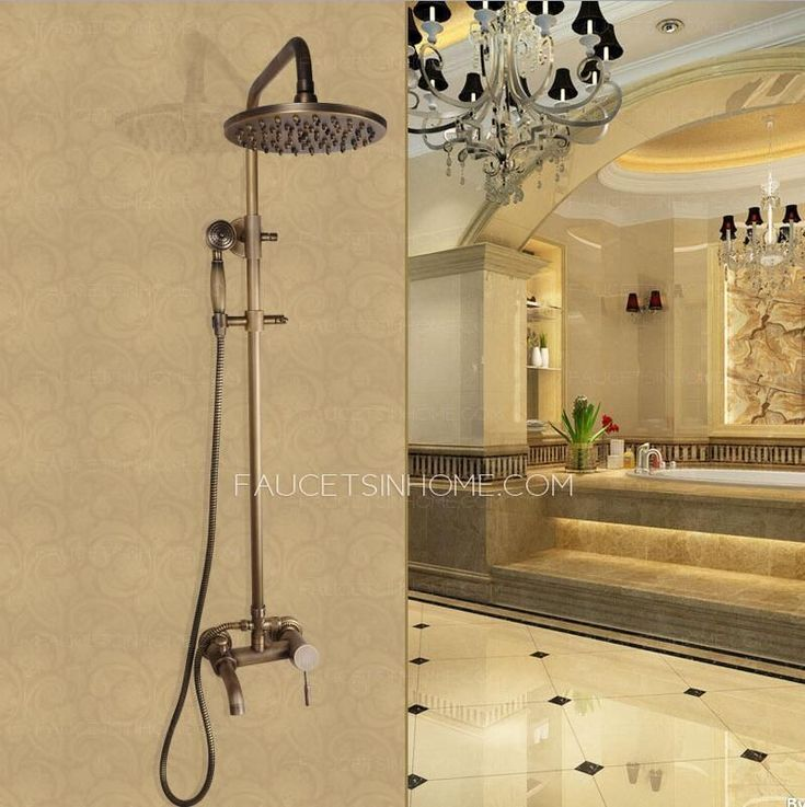 Antique Copper Shower Faucet System With Hand Held Shower #OutdoorFaucets