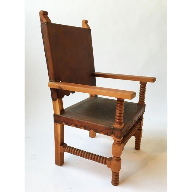 Image of Antique Leather King Chair with Spindle Legs