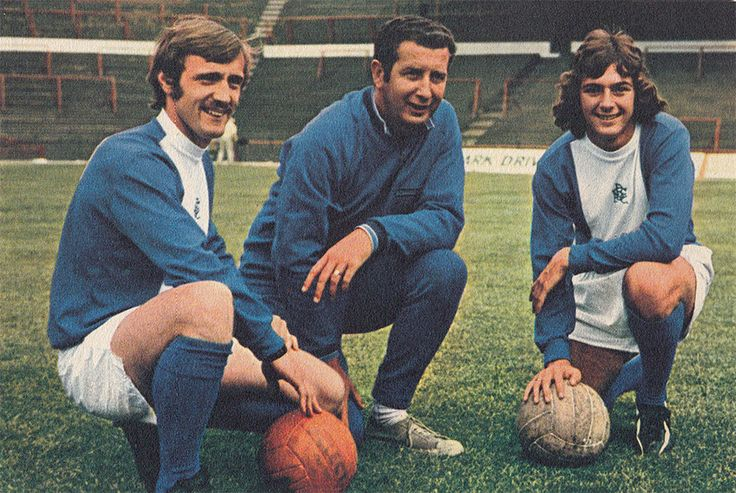 July 1971. Birmingham City manager Freddie Goodwin flanked by veteran captain Ray Martin and 17-year-old sensation Trevor Francis, at St Andrews.