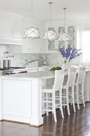 "Traditional Kitchen with Carrara marble countertop, Kitchenaid stand mixer, Marble subway tile (3""x6"" tile), Crown molding"