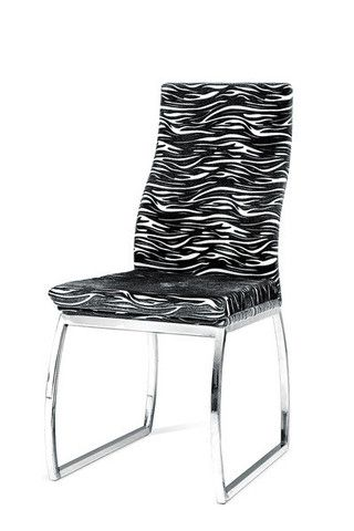 The Zebra Chair is unique, stylish, and quirky. It adds an element of fun but still modern style to any dining area or office.  Features:  Zebra Print Chrome Legs 20''x17''x37''