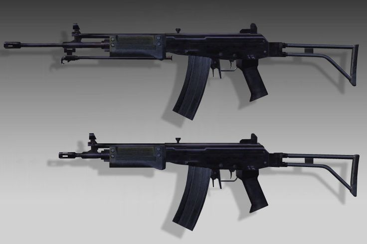 SADF R4 (top) and R5 Assault Rifles.
