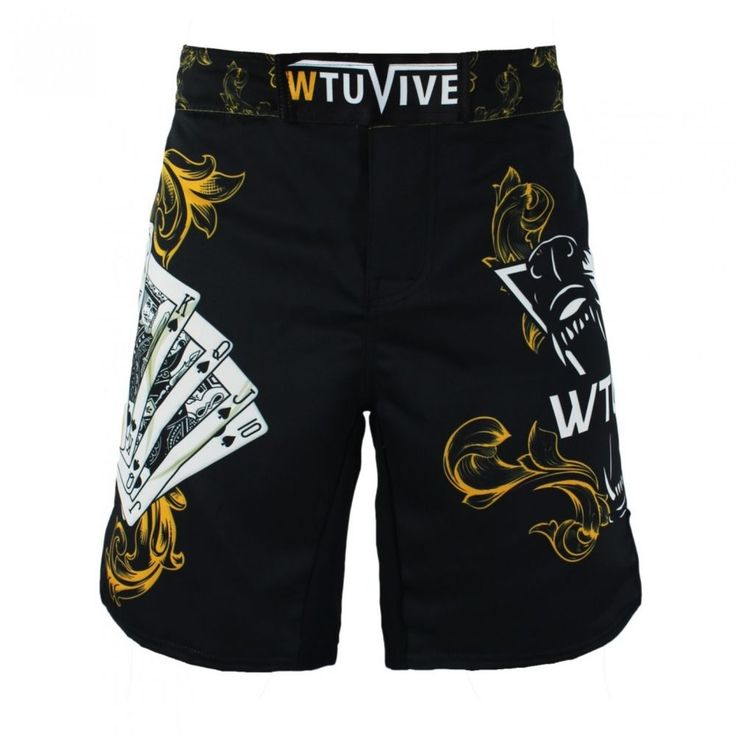 Boxing Fitness Shorts Mens Yellow Poker Warrior Tiger Kickboxing Trunks Gym Wear #Unbranded