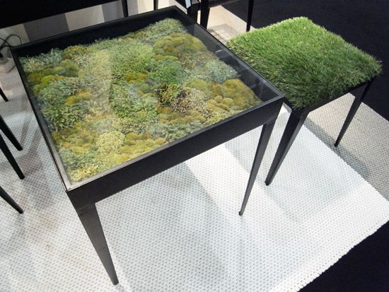 Awesome terrarium table with matching moss chair