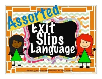 $ Exit Slips Language Assorted is a great product that will help your students to retain these parts of speech to memory. These parts of speech exit slips will help your students become better and more efficient writers. Included in this product:-Preposition slips -Adjective slips -Adverbs slips -Nouns slips -Pronouns slips -Verb slips -Homophones slips -Antonyms slips -Synonyms slips-Contractions slips-Prefix/Suffix slips