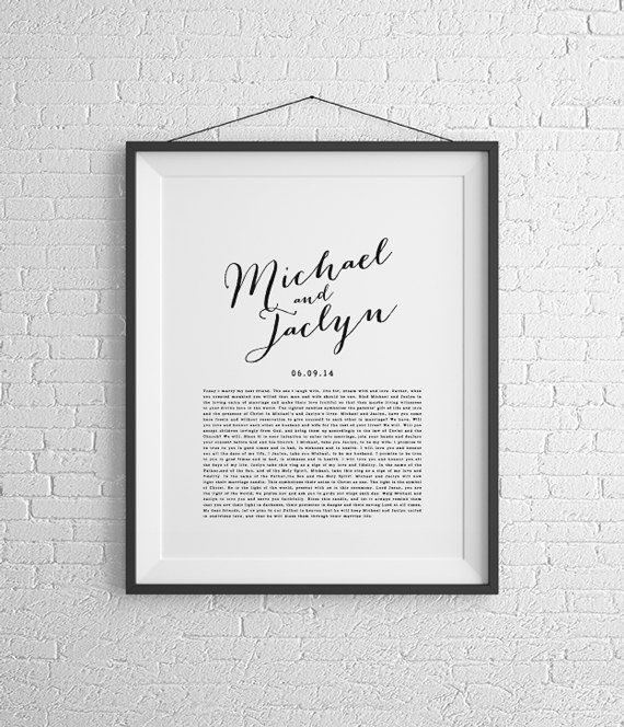 The perfect way to honour your wedding day is to have your wedding vows framed. A special gift idea for your first wedding anniversary (which is