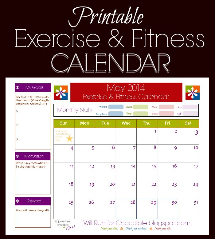 May Fitness and Exercise Printable Calendar Printable calendars