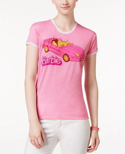 Mighty Fine Juniors Barbie Car Graphic Ringer T Shirt