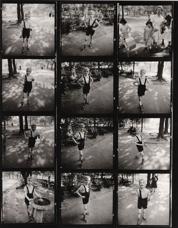 """CONTACT SHEET """"Child with a Toy Hand Grenade, Central Park, NYC,"""" (1962) by DIANE ARBUS (1923-1971). A native New Yorker, Diane Arbus photographed the inhabitants of the city, seeking out those at the edges of society. Her work reflects daily life, with a gaze that emphasizes the abnormality of the commonplace. The 1962 picture of the boy with the hand grenade in Central Park seems no different from other children; his exasperation communicates a frustration beyond the specific image. One…"""