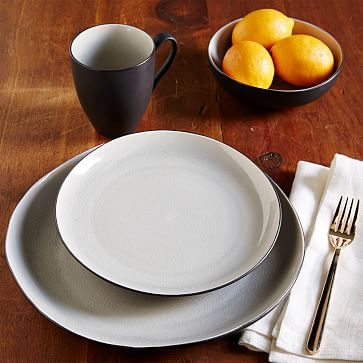organic shaped crackle dinnerware gray westelm - Modern Dinnerware