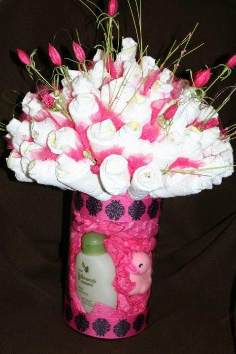 Diaper Flower Arangement with Baby Supplies in the Vase (Instead of a Diaper Cake) - Crafty Cornhusker