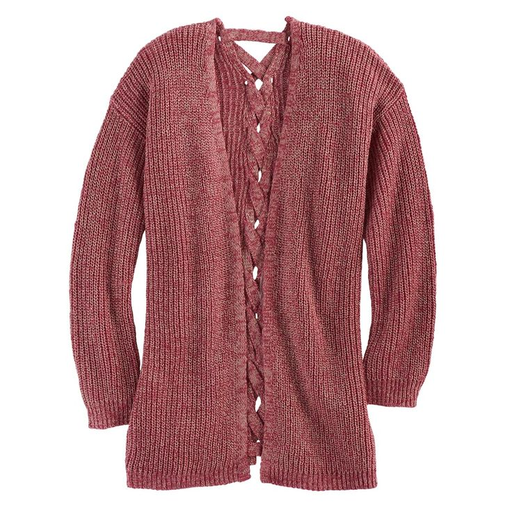 Girls 7-16 & Plus Size Cloud Chaser Lace-Up Back Cardigan Sweater, Size: Xxl Plus, Light Pink