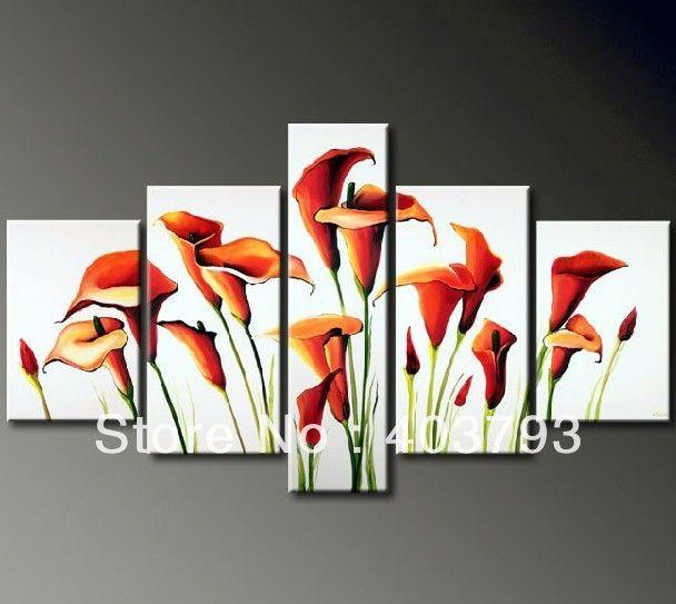 Так хороший современный абстрактные картины маслом на холсте белый фон цветок лилии для украшения дома бесплатная доставка