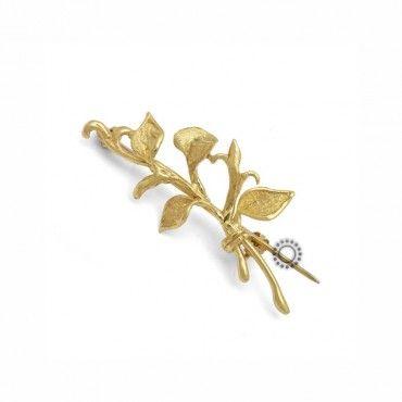 Γυναικεία καρφίτσα κρίνος σε κλαδί χρυσός Κ18 σφυρίλατος & σατινέ | Γυναικείες χρυσές καρφίτσες στο κοσμηματοπωλείο ΤΣΑΛΔΑΡΗΣ στο Χαλάνδρι από το 1958 #χρυσο #18Κ #καρφιτσα #χειροποιητο