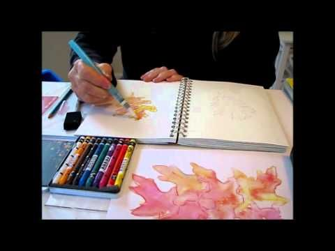 Art Journal Tutorial - Watercolor crayons - apply gesso with plastic card for thin layer